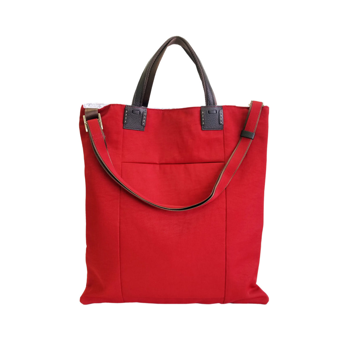 Wrinkle 3face Tote Red
