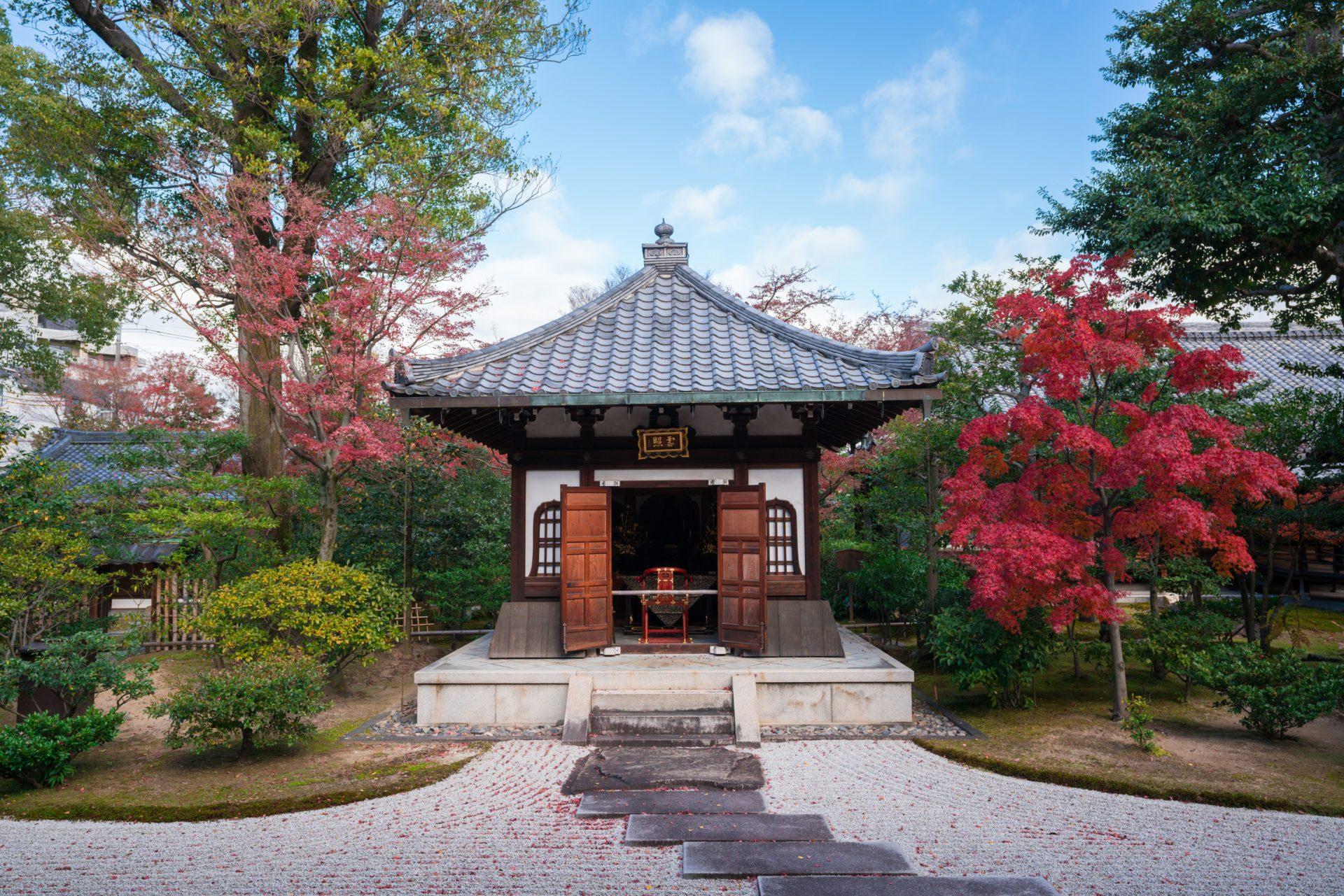 京都建仁寺の霊照堂と紅葉